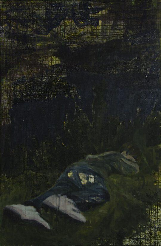 Erinnerungen glitten durch ihren Schlaf wie Boote im Nebel | Ahmed | Wachstempera und Druckfarbe auf Leinwand | 67 x 103 cm