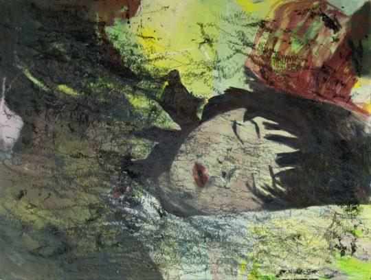 Schlaf | 2016 | Wachstempera und Druckfarbe auf Leinwand | 80 x 60 cm