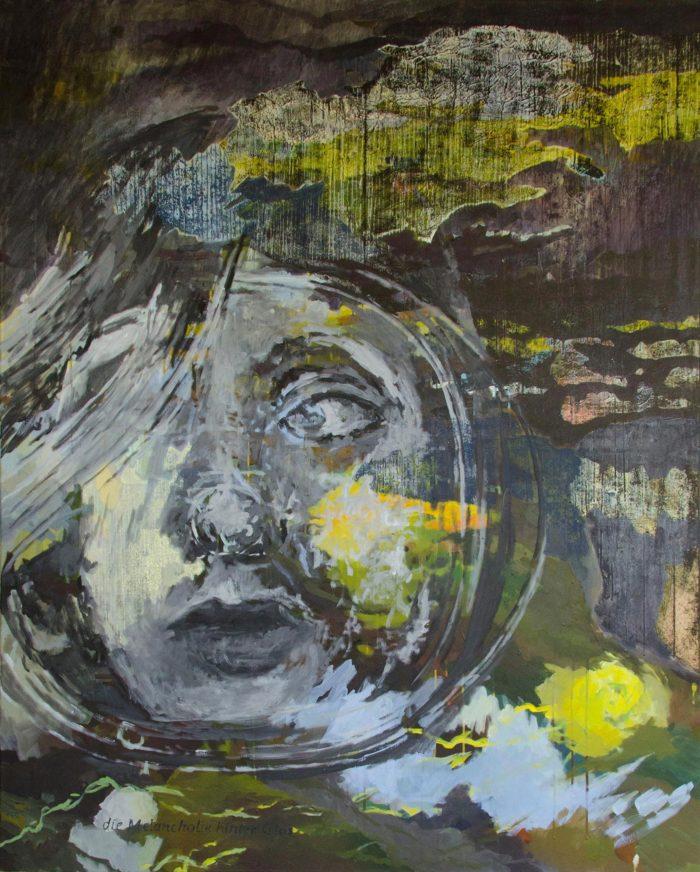 Die Melancholie hinter Glas | 2017 | Wachstempera und Druckfarbe auf Leinwand | 120 x 150 cm
