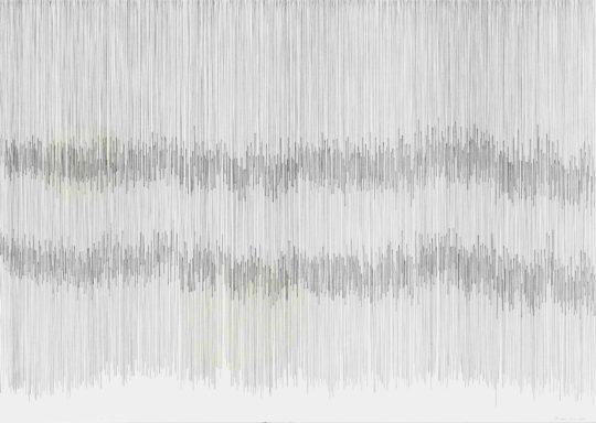 Drei Atemstriche | Klang | Atempartitur | 2016 | Farbstift und Bleistift auf Papier 88 x 62 cm