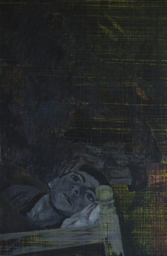 Erinnerungen glitten durch ihren Schlaf wie Boote im Nebel | Shiraz | Wachstempera und Druckfarbe auf Leinwand | 67 x 103 cm