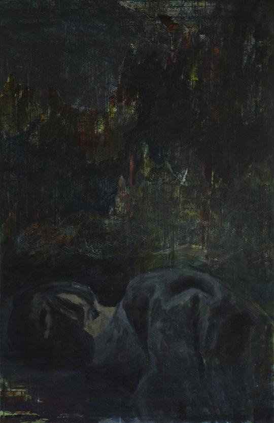 Erinnerungen glitten durch ihren Schlaf wie Boote im Nebel | Fara | Wachstempera und Druckfarbe auf Leinwand | 67 x 103 cm