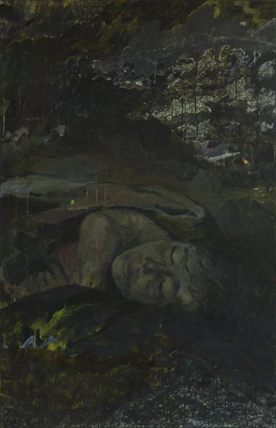 Erinnerungen glitten durch ihren Schlaf wie Boote im Nebel | Mahdi | Wachstempera und Druckfarbe auf Leinwand | 67 x 103 cm