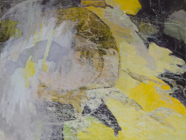 Schlaf | 2017 | Wachstempera und Druckfarbe auf Leinwand | 80 x 60 cm